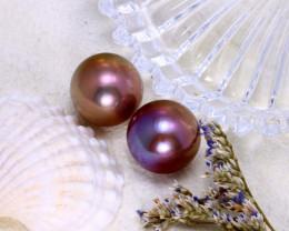 12.40mm 26.96Ct 2Pcs Natural Tahiti Peacock Aubergine Color Pearl  ER578/A2