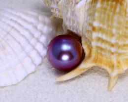 10.90mm 9.32Ct Natural Tahitian Aubergine Color Pearl  ER584/A244