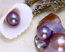 11.10mm 19.53Ct 2Pcs Natural Tahitian Aubergine Color Pearl  ER571/A244