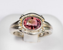 Size 7 Sterling Silver 1.2ct PinkTourmaline Ring