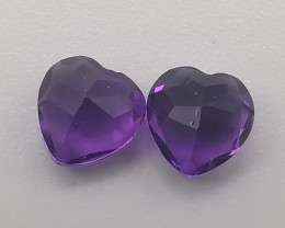 Amethyst hearts, 0.93ct, lovely gems in a deep purple colour!