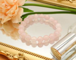 10.00mm 141.73Ct Natural Sakura Pink Rose Quartz Beads Bracelet EN141