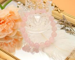 10.00mm 144.03Ct Natural Sakura Pink Rose Quartz Beads Bracelet EN143