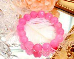 11.00mm 165.32Ct Natural Rose Pink Quartz Faceted Beads Bracelet EN144