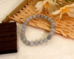 8.00mm 91.43Ct Natural Grey Agate Facated Beads Bracelet EN145