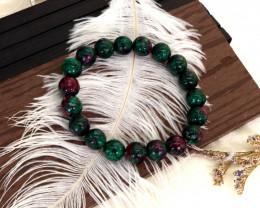 10.00mm 125.62Ct Natural Ruby Zoisite Beads Bracelet EN146