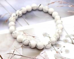 8.00mm 95.07Ct Natural Howlite Beads Bracelet EN147