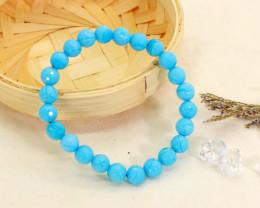 8.00mm 74.63Ct Natural Blue Lace Agate Faceted Beads Bracelet EN148