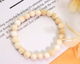 8.00mm 99.79Ct Natural White Agate Beads Bracelet EN149