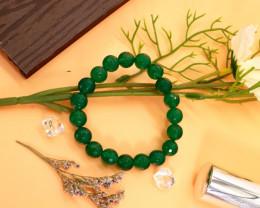 10.00mm 135.83Ct Natural Green Agate Faceted  Beads Bracelet EN150