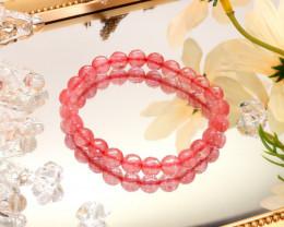 8.00mm 75.45Ct Natural Strawberry Quartz Faceted Beads Bracelet EN151