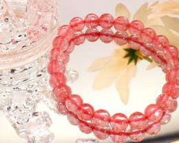 8.00mm 75.80Ct Natural Strawberry Quartz Faceted Beads Bracelet EN152