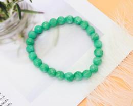 8.00mm 94.70Ct Natural Green Jasper Faceted Beads Bracelet EN154