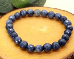 7.00mm 78.17Ct Natural Blue Jasper Faceted Beads Bracelet EN157