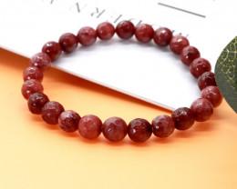 8.00mm 86.07Ct Natural  Red Jasper Faceted  Beads Bracelet EN161