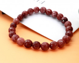 8.00mm 88.33Ct Natural  Red Jasper Faceted Beads Bracelet EN162