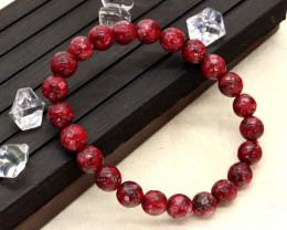 8.00mm 83.81Ct Natural  Red Jasper Faceted  Beads Bracelet EN163