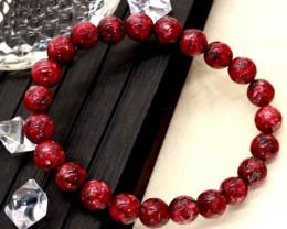 8.00mm 83.28Ct Natural Red Jasper Faceted Beads Bracelet EN164