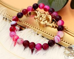 8.00mm 93.98Ct Natural  Purple Lace Agate  Beads Bracelet EN166