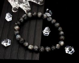 8.00mm 96.38Ct Natural Black & Grey Jasper Beads Bracelet EN169
