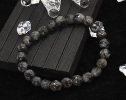 7.00mm 81.64Ct Natural Black & Grey Jasper Faceted Beads Bracelet EN170