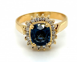 Cobalt Blue Spinel 2.00ct Natural Diamonds Solid 18K Yellow Gold Ring