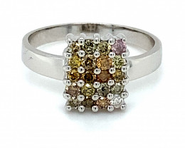 Fancy Colored Diamonds 1.00ct Solid 14K White Gold Ring