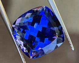 Tanzanite 13.22 ct cushion cut gem.