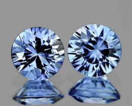 3.80 mm Round 2 pcs 0.57ct Light Blue Sapphire [VVS]