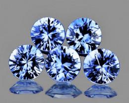 3.50 mm Round Machine Cut 5 pcs 1.12cts Ceylon Blue Sapphire [VVS]