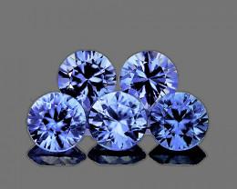 3.50 mm Round Machine Cut 5 pcs 1.02cts Ceylon Blue Sapphire [VVS]