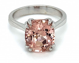 Pink Tourmaline 5.76ct Solid 14K White Gold Ring