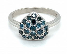 Blue Diamonds 1.00ct Solid 14K White Gold Ring