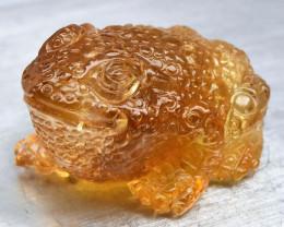 Rare! 37.84ct Frog Caving Natural Yellow Citrine Brazil