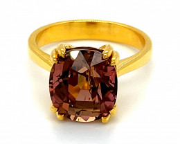 Rubellite 7.82ct Solid 14K Yellow Gold Ring