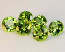 5.22Cts Genuine Excellent Natural Peridot 6mm 6Pieces Loose Gems
