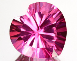 CONCAVE CUT~ 4.12 Cts Candy Pink Natural Topaz 10mm Heart Brazil