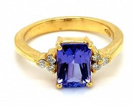 High Grade Tanzanite 2.89ct Natural Diamonds Solid 18K Yellow Gold Ring