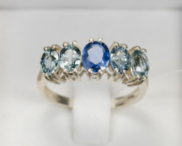 Size 7 14.5tcw Blue  Sapphire Sterling Silver Ring