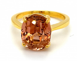 Orange Tourmaline 6.38ct Solid 14K Yellow Gold Ring