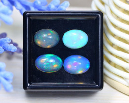 Welo Opal 5.21Ct 4Pcs Natural Ethiopian Rainbow Flash Welo Opal C2513