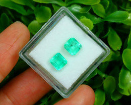 Muzo 1.91Ct 2Pcs Natural Colombian Green Color Muzo Emerald A2522