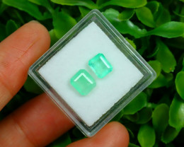 Muzo 1.57Ct 2Pcs Natural Colombian Green Color Muzo Emerald A2532