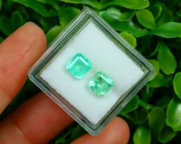 Muzo 1.88Ct 2Pcs Natural Colombian Green Color Muzo Emerald A2536