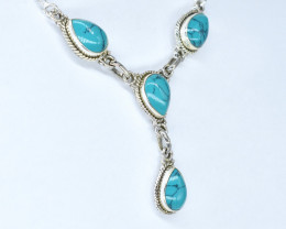 TURQUOISE NECKLACE NATURAL GEM 925 STERLING SILVER AN177