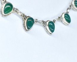 GREEN ONYX NECKLACE NATURAL GEM 925 STERLING SILVER AN178