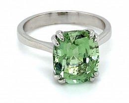 Mint Green Tourmaline 6.65ct Solid 14K White Gold Ring