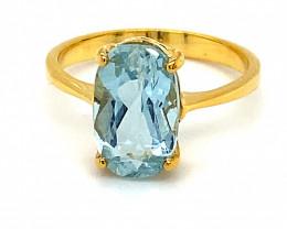 Aquamarine 2.40ct Solid 14K Yellow Gold Ring