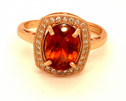Spessartine 2.40ct Rose Gold Finish Solid 925 Sterling Silver Ring