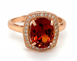Spessartine 3.10ct Rose Gold Finish Solid 925 Sterling Silver Ring